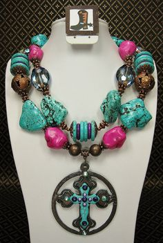 TURQUOISE / FUSHIA CHUNKY Cowgirl Necklace by CayaCowgirlCreations, $58.50