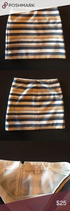 J crew metallic stripe skirt Metallic gold, blue and cream stripe mini skirt. Excellent condition J. Crew Skirts Mini