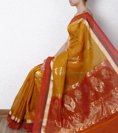 Yellow cotton Silk saree. Shop now @ http://www.indianroots.in/brands/r-z/silk-route/yellow-cotton-silk-saree