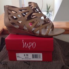 Impo Bronze Zip-up Sandals Impo bronze zip-up sandals.  Size 8M.  New in box, never worn. Impo Shoes Sandals