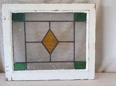 Vintage-English-Stained-Leaded-Glass-Window-Four-Corner-Diamond