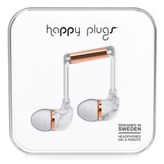 Marble and rose gold in-ear headphones | happy plugs