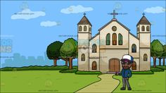 A Friendly Rude Boy At A Church Outside The City :  A black (African American) man with curly hair beard and mustache wearing a blue with purple and white trucker cap bluish black shades dark teal jacket gray pants and dark gray shoes smirks while slightly lifting his right hand in a friendly gesture. Set in outside view of a cathedral with beige walls gray roofing cross green trees and walkway overlooking the city.