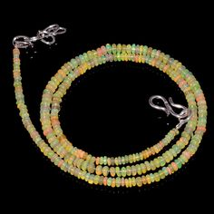 "27CRTS 2.5to3.5MM 18"" ETHIOPIAN OPAL RONDELLE BEAUTIFUL  BEADS NECKLACE OBI816 #OPALBEADSINDIA"