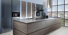 Schröder Küchen | Küche ohne Griffe | Sherwood H/V GLV cigar, Luce colored GLV blaugrau 02
