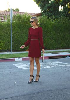 Burgundy Dress from Zara... With tights it would be completely winter work appropriate! | Damsel in Dior