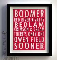 Oklahoma University Sooners Subway Scroll Art by texowadesigns, $25.00