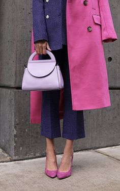 ELLE WOODS // BIG MOOD - Blair Eadie wearing a suit and coat from Topshop // Click through to find more fashion on a budget in her newest product roundup on Atlantic-Pacific // Pink and purple Source by - Fashion Week, Look Fashion, Autumn Fashion, Fashion Outfits, Elle Fashion, Dress Fashion, Colourful Outfits, Colorful Fashion, Bright Winter Outfits
