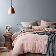 Cozy gray and rose gold bedroom  Love the look? We can help bring it into your own home! Contact our decor specialists at NousDecor now.