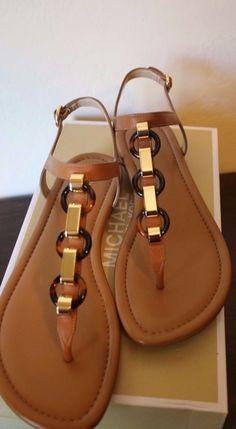 f2a22d5e7fd Michael Michael Kors Mahari Thong Sandal Brown Leather Gold Acorn Size 8.5    9