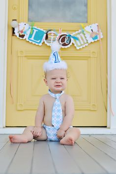 Baby Boy / Toddler Party Hat,  Necktie & Diaper Cover Baby Blue and White Argyle Fluffy Trim. $39.99, via Etsy.