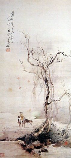 Winter tree, horse and rider, water - by Gao Qifeng (1889-1933), China. Lingnan School.