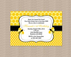 Polka Dot Bumble Bee Birthday Party Invitations by Honeyprint, $15.00