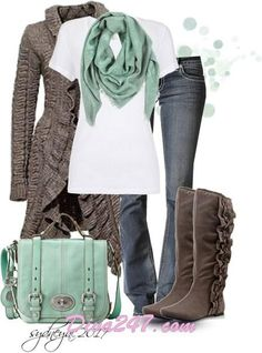 fall outfit- but NOT those boots! Yikes..