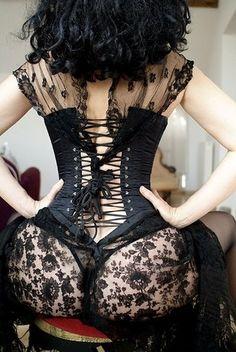 black, butt, corset, corsets, dark, dresses, fashion, fg:black, horny, hot, lace, lingerie, sexy, thong, woman, yum