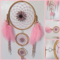 3 Tiered Dream Catcher - SOLD - handmade with tan deerskin, pink cording, glass, metal and ceramic beads and pink marabou feathers. Hoops are 8, 4 and 3 inch. You can see more designs at https://www.facebook.com/pages/Dreamscape/471890606282556