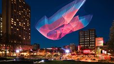The Quartier des Spectacles is alive with great Montreal events, year round. Interactive Installation, Installation Art, Montreal, Janet Echelman, Spectacle, City Landscape, Tecno, Environmental Art, Gardens