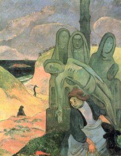 Paul Gauguin.  Der grüne Christus. 1889, Öl auf Leinwand, 92 × 73 cm. Brüssel, Musée Royaux des Beaux-Arts. Synthetismus. Frankreich. Postimpressionismus.  KO 01372