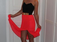 red chiffon high low skirt