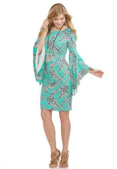 Cato Fashions Paisley Bell Sleeve Sheath Dress #CatoFashions @mjhenry00
