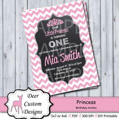 Princess Pink Chevron & Glitter Birthday Invitation ANY Custom Birthday Invitations, Digital Invitations, First Birthday Party Themes, Birthday Celebration, Chalkboard Invitation, Glitter Birthday, Invitation Design, Invite, Princess Birthday