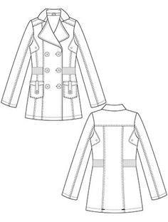 Flat Fashion Sketch - Coat 031