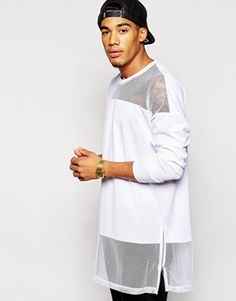 ASOS Super Longline Long Sleeve T-Shirt With Mesh Panels And Side Zips