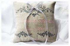 Personalized Ring bearer pillow  Linen personalized by KoTshop, $20.00