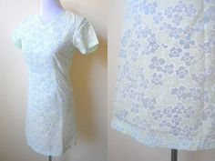 Spring / Summer Sale: sheer pastel green and blue floral shift dress (small) by VintageHomage