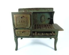 Metal Toy Stove, Kent Cast Iron Stove,green,toy oven,small stove,collectible ,pressed metal,