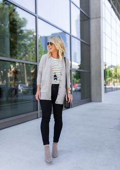 Stripes & Tassels, how to wear black jeans. #fallfashion #style #blackjeans https://hisugarplum.com/black-jeans-stripes-leopard-plus-a-girlfriend-gift-guide/