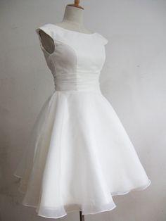 Vintage 1950s Ivory Short Wedding Dress by RockRollRefresh on Etsy - $95. Bridal or rehearsal party