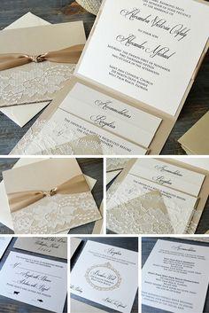 Lace Pocket Wedding Invitation- Beige Sand and Ivory Lace with Handmade Lace Pocket - Lace Wedding Invitation Suite