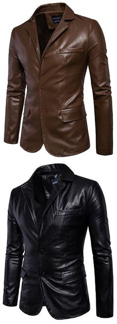 Solid Color Motorcycle Synthetic Faux Leather Solid Color Coat Jacket Suit for Men Mens Fashion Suits, Mens Suits, Men's Leather Jacket, Men's Coats And Jackets, Urban Outfits, Gentleman Style, Mens Clothing Styles, Men Dress, Latex Fashion