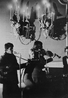 Lou Reed and John Cale performing as the Velvet Underground, with Edie Sedgwick and Gerard Malanga.