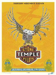 """Stone Temple Pilots poster (click image for more detail) Artist: EMEK Venue: Veterans Coliseum Location: Phoenix, AZ Concert Date: 11/7/1996 Size: 16"""" x 21"""" Condition: Mint Notes: signed and doodled ("""