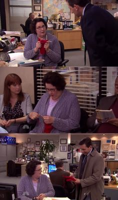 Phyllis is knitting Michael a gift on The Office.