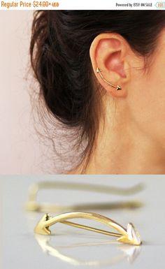 Arrow earrings Ear cuff Gold Earrings Modern by sigalitaJD