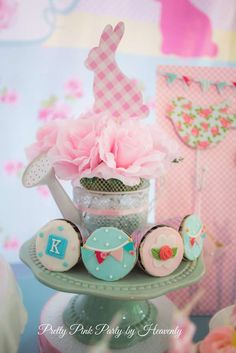 Cupcakes at a Cath Kidston bunny birthday party! See more party ideas at CatchMyParty.com!