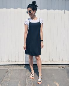 TREND ALERT  Tee shirt under a slip dress! It s back to 90 s basics ... 117ea43b7