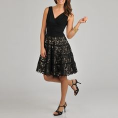 @Overstock - S.L Fashions Women's Sleeveless Surplus Neckline Draped Bodice and Lace Party Skirt with Contrast is fully lined in polyester. Complete with a back zipper with hook and eye closure.http://www.overstock.com/Clothing-Shoes/S.L-Fashions-Womens-Sleeveless-Draped-Bodice-with-Lace-Skirt-Party-Dress/6728212/product.html?CID=214117 $79.99