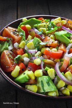 Avolution Avocado And Corn Salad Coffee Banana Smoothie, Australian Food, Australian Recipes, Corn Salads, Spanish Food, Fruit Salad, Tapas, Good Food, Veggies