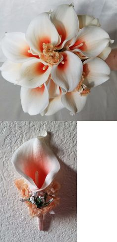 Flowers Petals and Garlands 20938: Ivory Coral Calla Lily Bridal Wedding Bouquet And Boutonniere -> BUY IT NOW ONLY: $49.99 on eBay!
