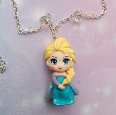 Frozen necklace with handmade Elsa polymer clay by Akindoonline
