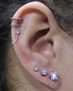 Victorian Earrings 3 in 1 Silver Ear Jackets Bridal Romantic Earrings Round Crystal Studs SALE Surgical Steel Geometric Earrings