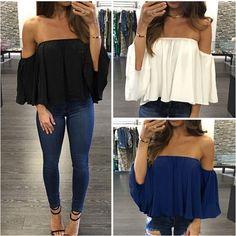 Fashion Women Off Shoulder Top Long Sleeve Pullover Casual Blouse Summer T Shirt Chiffon Shirt, Chiffon Tops, White Chiffon, Summer Crop Tops, Party Tops, Bustier, Shoulder Shirts, Color Negra, Shirt Blouses