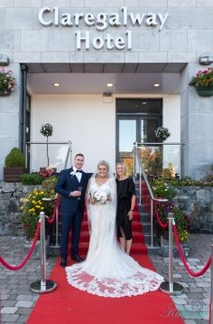 Our Bride and Groom Eddie and Dawn posing with our wedding coordinator Nora Gill on the red carper in front of the Claregalway Hotel Wedding Gallery, Wedding Blog, Wedding Planner, Civil Ceremony, Wedding Ceremony, On Your Wedding Day, Perfect Wedding, Bride Speech, Wedding Brochure