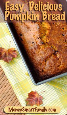 Easy, delicious pumpkin bread recipe from Annette Economides, MoneySmartFamily.com, America's Cheapest Family