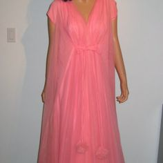 Claire Sandra by Lucie Ann of Beverly Hills. Pom Poms. Vintage 1960;s Hollywood Goddess Gown. Nightgown & Peignoir.  Sweep of chiffon.  Love it!!!