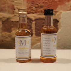 Custom Liquor Bottle Wedding Favors - DIY own bottle labels with monogram